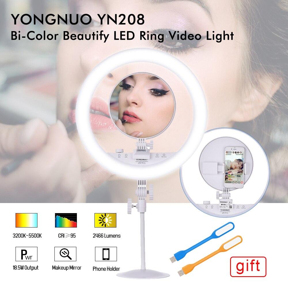 YONGNUO YN208 Selfie Anneau Lumière Bi-Couleur LED Vidéo Lumière Photo Studio Remplir Photographie Éclairage pour iphone avec Faire -up Miroir