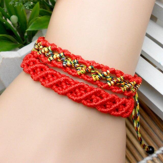 352601e9057b Diy pulsera de hilo rojo 2016 rojo tejido a mano ahueca hacia fuera la  cuerda del