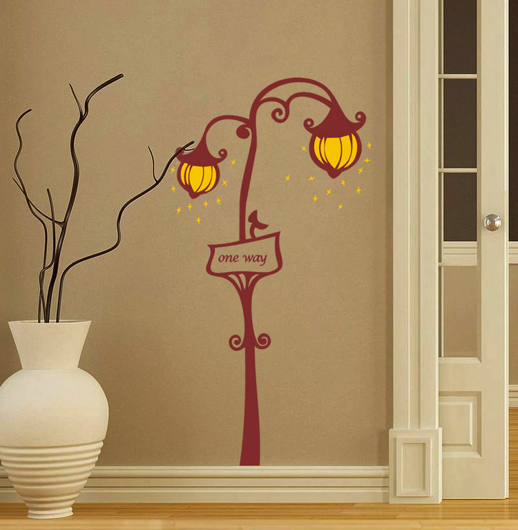 New design room decor wall decal stickers street road lamp one way with lighting sticker home decorative wallpaper in wall stickers from home garden on