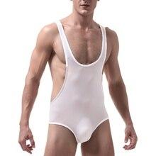 Ultrathin Ice Silk Mens Underwear Sexy Bodysuit Men Transparent Corset Nylon Shapewear for