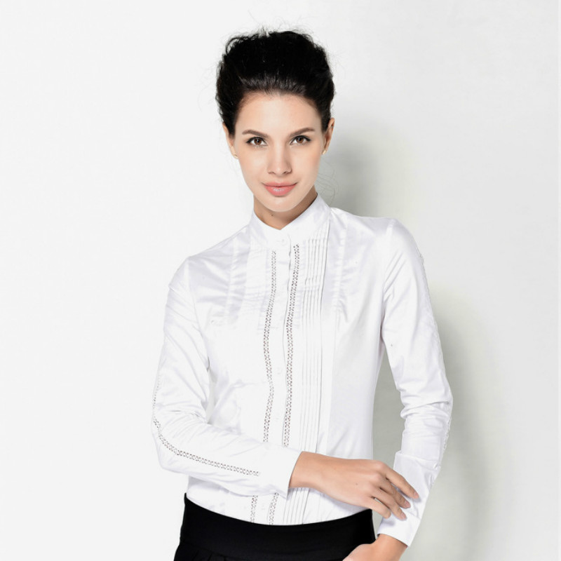 2566569bf5f US $17.71 39% OFF|Ruoru Fashion Ladies Long Sleeve Body Shirt Women Formal  Lace Patchwork White Blouse for Work Wear Women Body Female Tops-in Blouses  ...