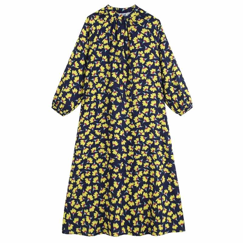 2019 Women fashion flower printing shirtdress single breasted chic midi Dress pleats casual loose Dress Vestidos clothing DS2629