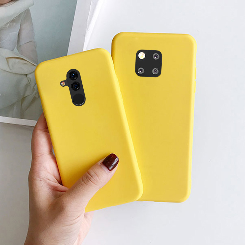 Yellow Candy Matte Clear TPU Case For Huawei P8 Lite 2017 P9 Lite Mini P10 P20 P30 P Smart 2019 Mate 20 Pro Rubber Cover