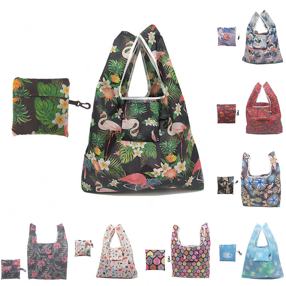 Foldable Eco-Friendly Handbag Shopping Bag Recyclable Floral Grocery Tote Pouch