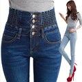 2015 новый осень зима высокой талией джинсы стройный джинсы синий карандаш брюки 26 - 40 ярды бесплатная доставка KHT638