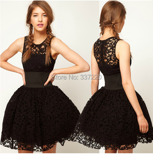 in stock cheap hot sale black lace prom dresses 2015 ball gown short ...