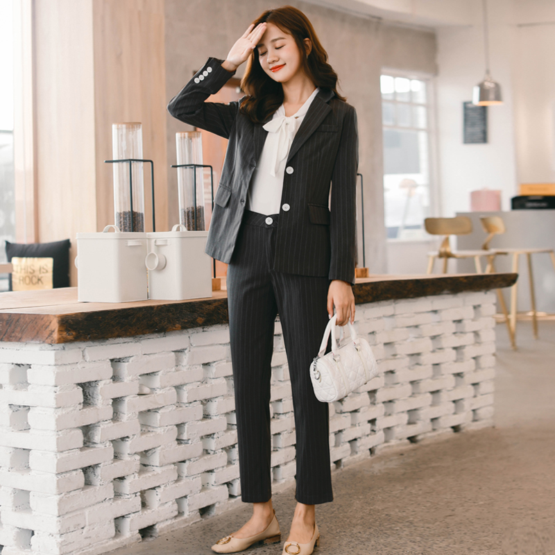 Fashion Autumn 2 Pieces Set Black Striped Pant Suits For Women Single Breasted Blazer Jacket & Pant Work Business Female Suits