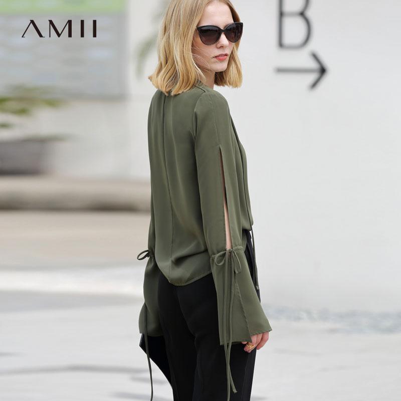 Blouses 2019 Femelle Amii Ciel Femmes Green Chemisier pu Cordon V Lady army Soie De Élégant Beige Minimaliste Cou Chemises Mousseline Office wAEqA6F