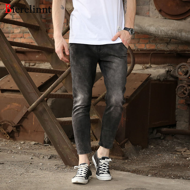 39620919 Bierelinnt Elastic Black Ankle-Length Pencil Pants Ripped Hole Slim Fit  Jeans Men,2018