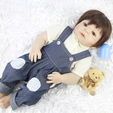 "23"" Full Body Silicone Reborn Baby Doll Toys Realistic Boy Wear Jeans Truly Cool Dolls Reborn Boneca For Child Xmas Gifts"