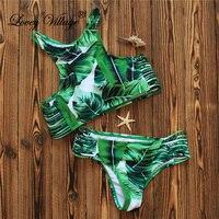 2017 Sexy High Neck Bikini Swimwear Women Swimsuit Brazilian Bikini Set Green Leaf Halter Backless Beach
