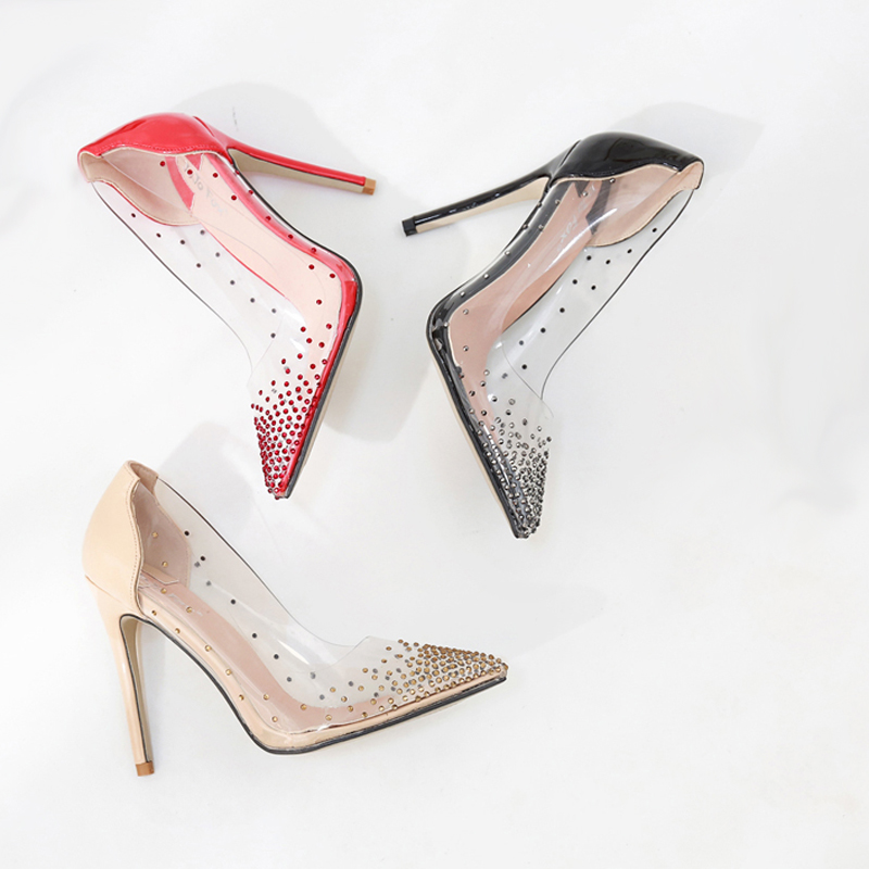 Black Rhinestone High Heels Women Pointed Toe Heels Crystal Bling Red Shoes Ladies High Heels Pumps 11cm Party Wedding Shoes women shoes wedding dress bridal shoes big red crystal high heels rhinestone heels golden striate collaterals glittering party