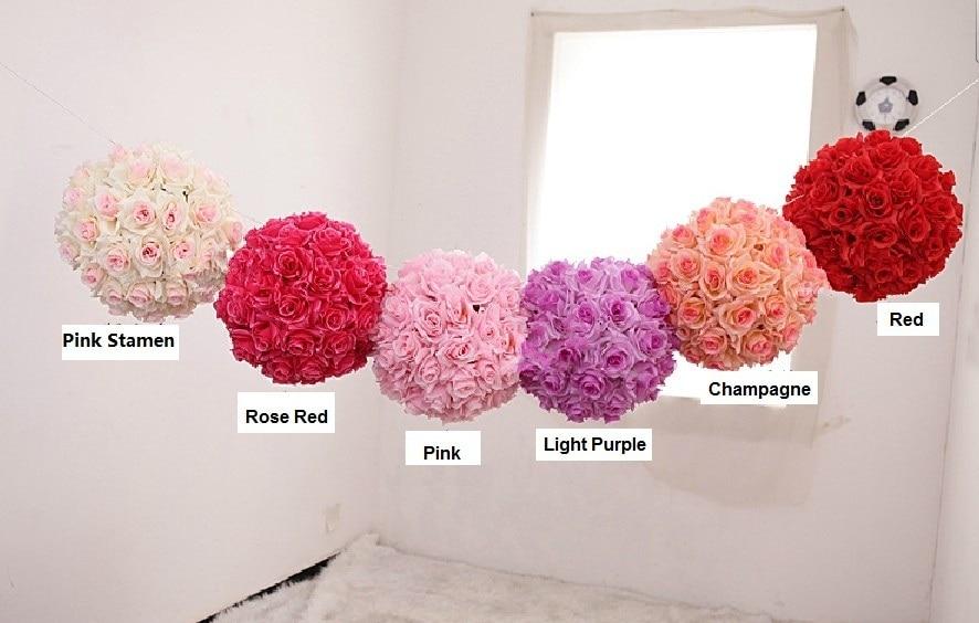 25cm Diameter High Compacted Wedding Rose Ball Artificial Hanging