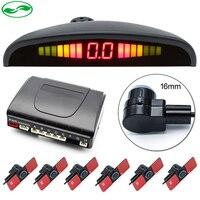 Front Rear 6 Sensors Car LED Parking Sensor For All Cars Reversing Radar Monitor Buzzer Alarm 16mm Original Flat Parking Sensors