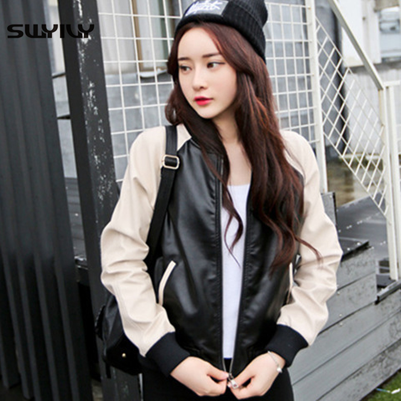 SWYIVY Women PU   Leather   Jackets Coats Color Block 2019 Spring New Female Short Design Coat Loose One Size Woman   Leather   Jackets