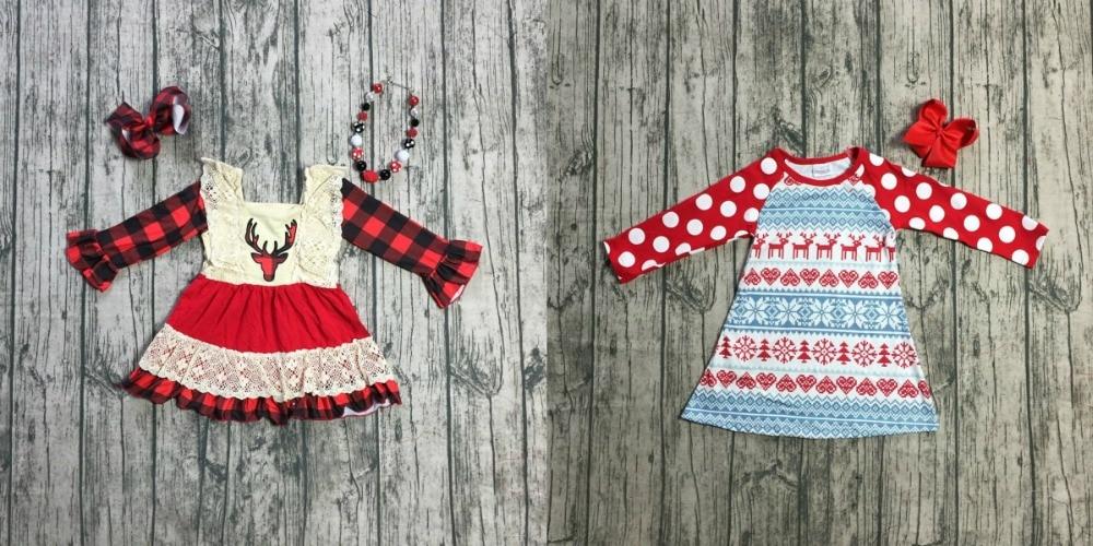 Navidad invierno Bebé niñas de algodón a cuadros azteca Reno vestido de niños ropa de niños boutique de ropa blanco encuentro Accesorios