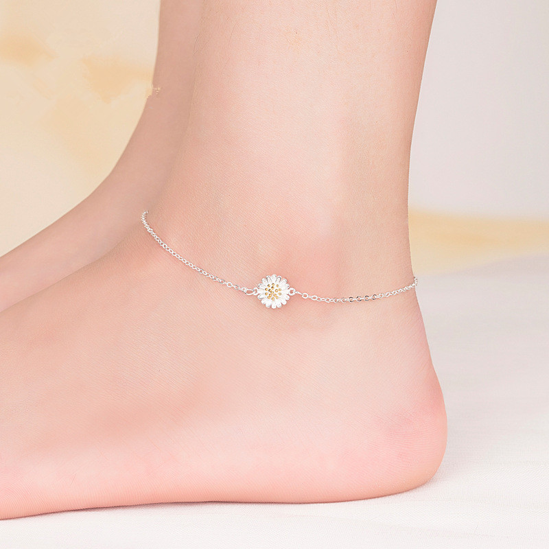 2019 Fashion 925 Sterling Silver Anklet Fine Jewelry Simple Daisy Foot Chain For Women Girl S925 Silver Ankle Chain Leg Bracelet