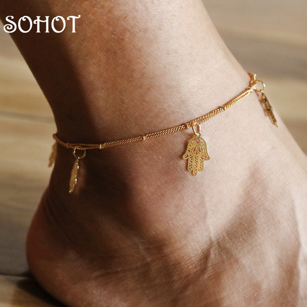 SOHOT New Arrived temperament Double Layer Anklets Hollow Hamsa Hand Pendant Charm Gold Color Bell Accessories For Women Bijoux