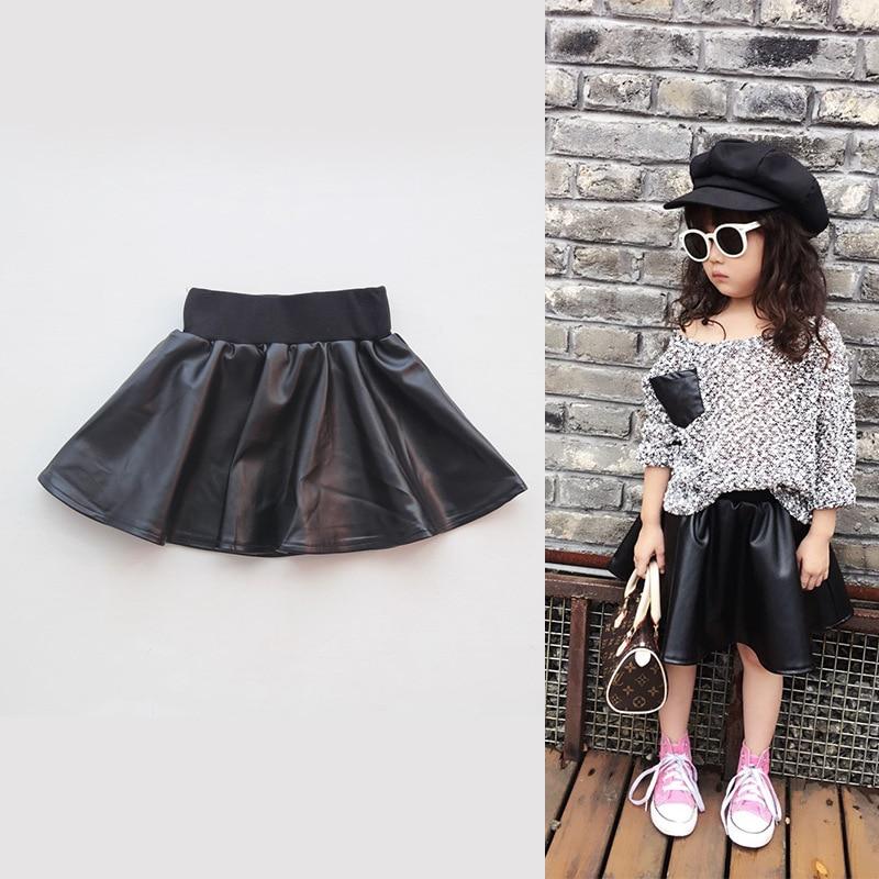 Skirt Girl Fashion Leather Elastic Waist Baby Kids Children Above Knee Casual