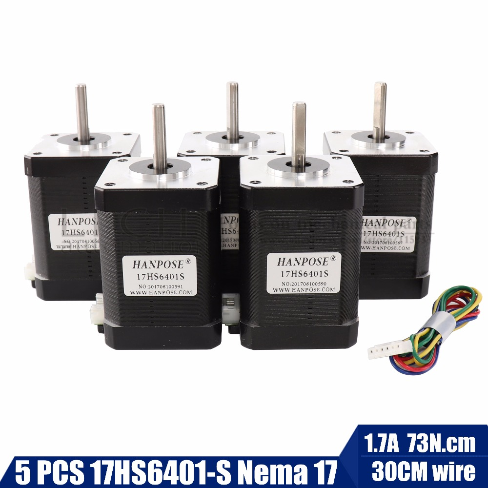 5pcs lot for 3D printer 1pcs nema17 stepper motor 60mm 2 phase hybrid stepper motor 1