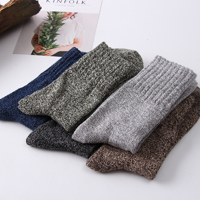5 Pair of Men's Wool Stripe Socks 2