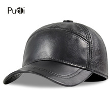 Aorice men genuine leather cow skin cap 100% Real Leather Russian winter warm army with ears solid color  fashion hats HL190 fashion 2018 russian winter mother