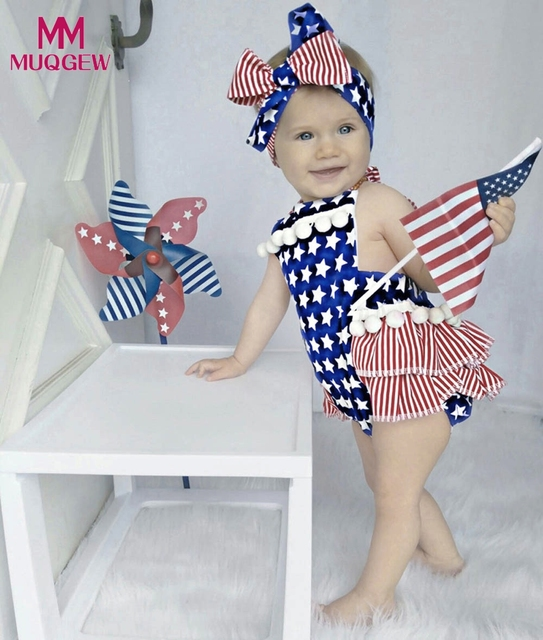 eaf7c61ace9e Newborn Baby Girl 4th Of July Star Stripe Flag Clothes Romper Jumpsuit  Outfits