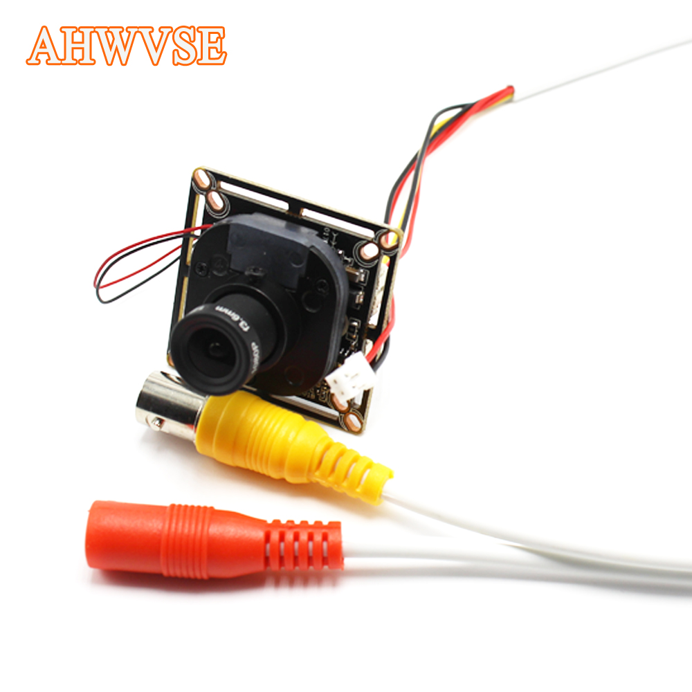 AHWVSE New Arrival HD 1000TVL CCTV Analog Mini Camera module board with IR-CUT and BNC cable 2.8mm lens