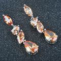 2016 New Brown Stone Cubic Zirconia For Women Silver Jewelry Drop Earrings Free Shipping PE0202