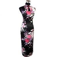 패션 블랙 치파오 레스 Vestido 뜨거운 판매 중국어 여성의 긴 Qipao 레이온 실크 dress 꽃 크기 sml xl xxl j5113
