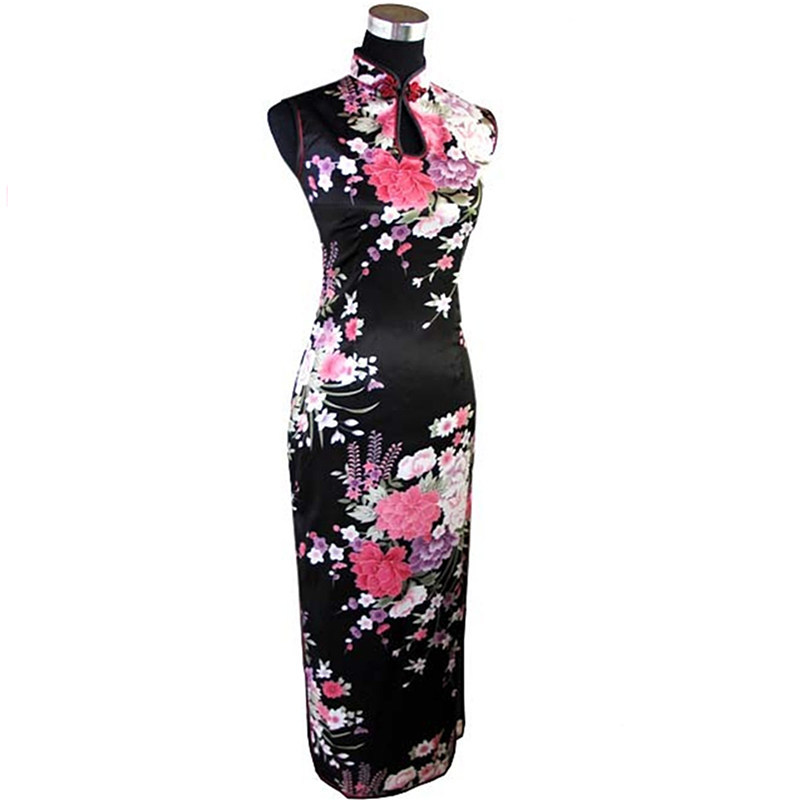 Fashion Black Cheongsam Mujeres Vestido Hot Sale Chinese Women's Long Qipao Rayon Silk Dress Flower Size S M L XL XXL J5113