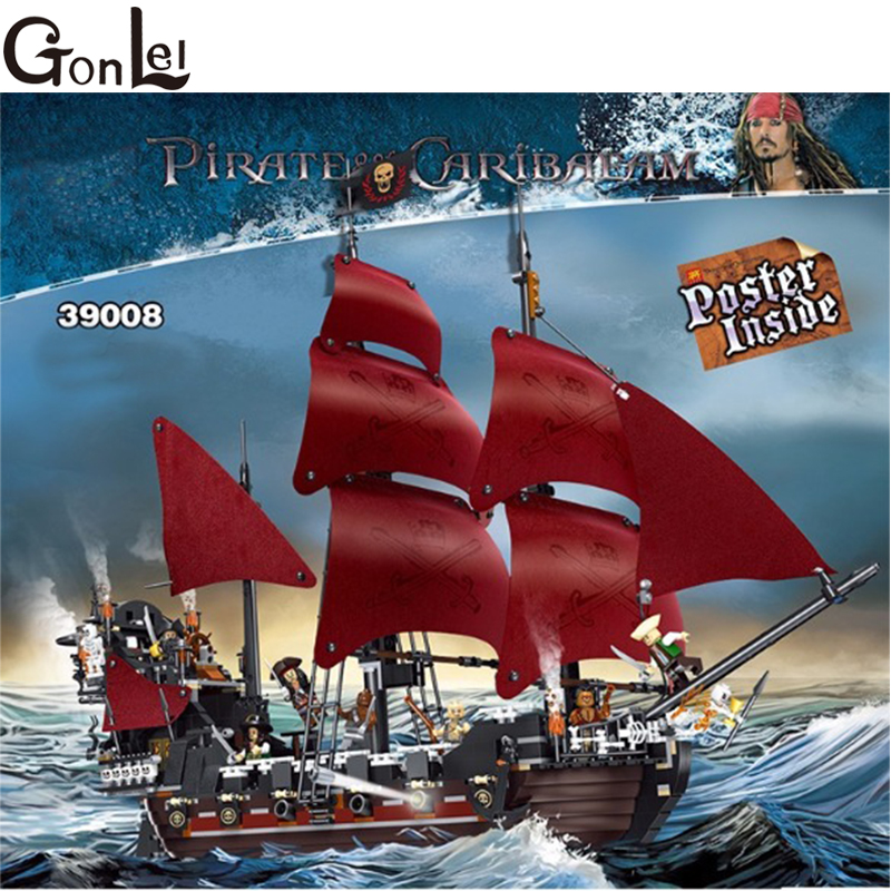 GonLeI New 16009 1151pcs Queen Anne's revenge Pirates of the Caribbean Building Blocks Set Compatible with 4195 Kids toys lepin 16009 caribbean blackbeard queen anne s revenge mini bricks set sale pirates of the building blocks toys for kids gift