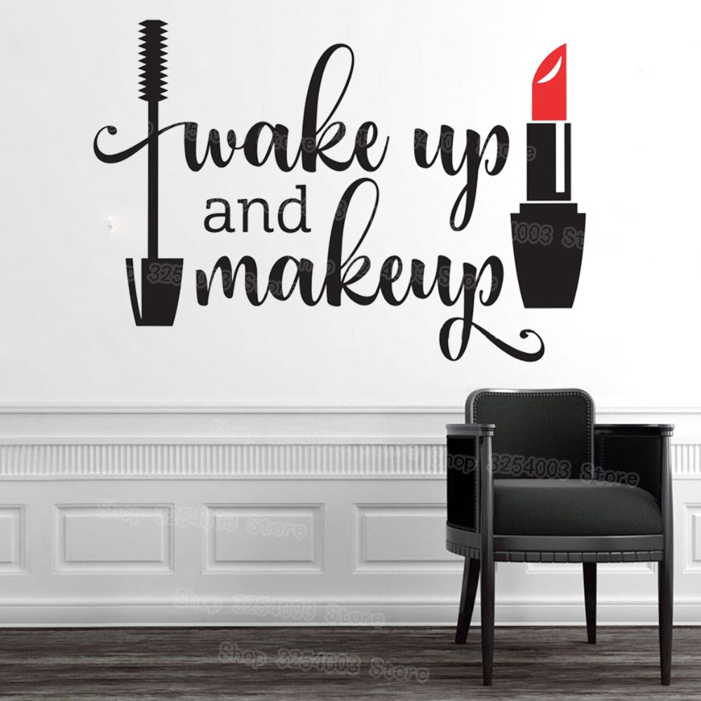 Wake Up And Makeup Vinyl Wall Stickers Girls Bathroom