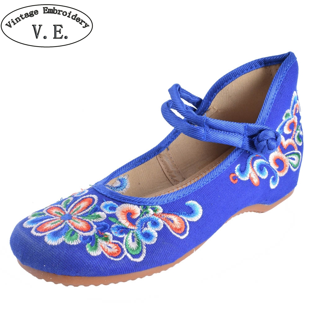 Mix Style Women's Shoes Old Peking Mary Jane Flat Heel Denim Flats with Embroidery Soft Sole Casual Shoes  Size 34-41 plus size 41 fashion women shoes old elegant art party beijing mary jane flats with casual shoes chinese style embroidered clo