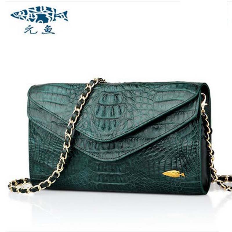 yuanyu 2017 new hot free shipping Thai crocodile women handbag inclined bag envelope bag imported women chain bag