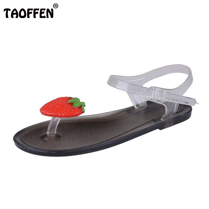 TAOFFEN Sexy Women Summer Beach Flats Sandals Lemon Ankle Strap Flat Flip Flops Vacation Party Shoes Women Sandal Size 35-39 covoyyar 2018 fringe women sandals vintage tassel lady flip flops summer back zip flat women shoes plus size 40 wss765