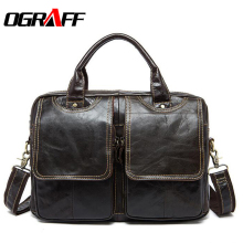 OGRAFF Men bag Handbags Genuine Leather Bags Men Briefcase designer Men Crossbody Messenger shouder Bag Leather Laptop Bag sale