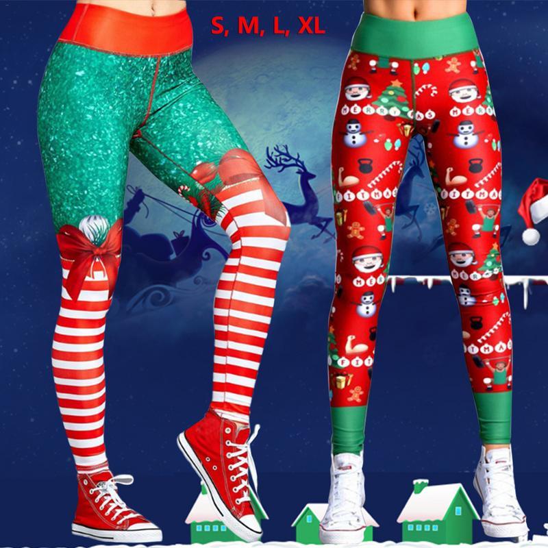 fd585c83cfc4ac 2018 Hayoha Christmas Printing Leggings Put Hip Elastic High Waist Legging  Breathable Merry Christmas Pants