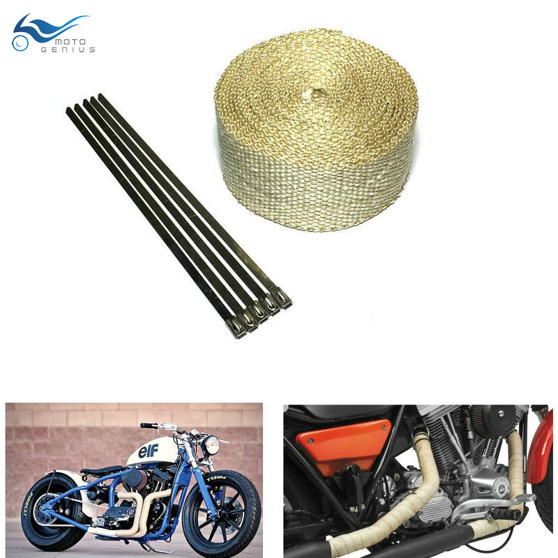 5m Beige Color Exhaust Pipe Tape Heat Resistant Wrap Exhaust Wrap With Stainless Steel Ties