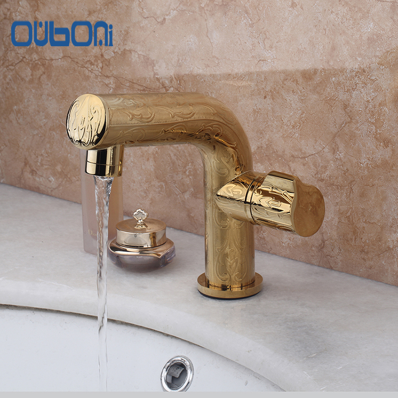 Luxury  Polished Golden Finished Good Quality Single Holder Bathroom Basin Sink Mixer Tap Faucet Deck Mounted Single Handle luxury wall mounted bathroom basin faucet single handle golden finish sink mixer