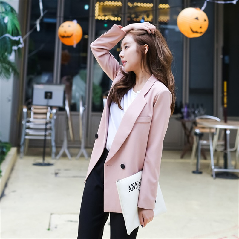 2018 Hot Sales Autumn Women Pink Side Slit Blazers Thin Blazer Office Outfits Loose Fashion vadim Double Breasted Outwear