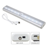LED Cabinet Light with Motion Sensor USB Recharging Infrared Induction Automatic On Off Night Light Wardrobe Lamp