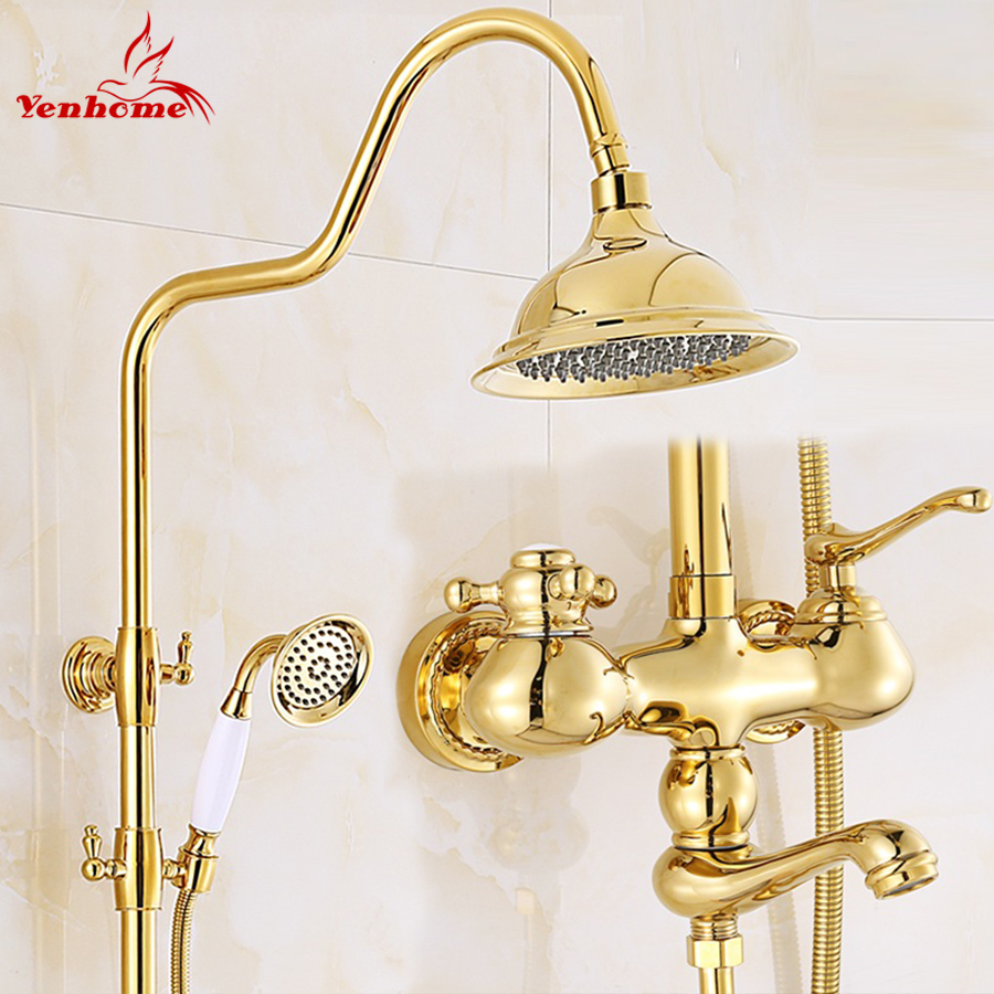 Luxury Gold Ceramics Crystal Retro Solid Brass Bathroom Shower Set Faucet Wall Mounted Dual Handle Rainfall