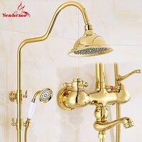 Роскошный Золотой керамики Кристалл Ретро твердая латунь Ванная комната Душ Набор кран настенный двойной ручкой смеситель для душа в форме