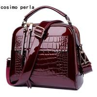 Fashion Patent Leather Women Handbags Bright Black Crocodile Leather Ladies Shoulder Satchels Crossbody Bag Small Shell Totes