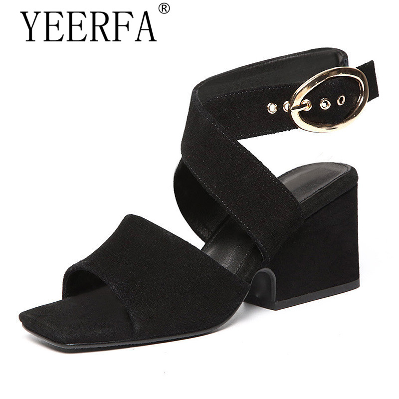 YEERFA big size 35-43 Summer Shoes Woman 2017 Women's Sandals ~Square Heel Sandals Gladiator~Cross-tied Sandals High Heels yeerfa 2017 gladiator sandals gold silver shoes woman summer platform wedges glitters creepers casual women shoes size 35 40