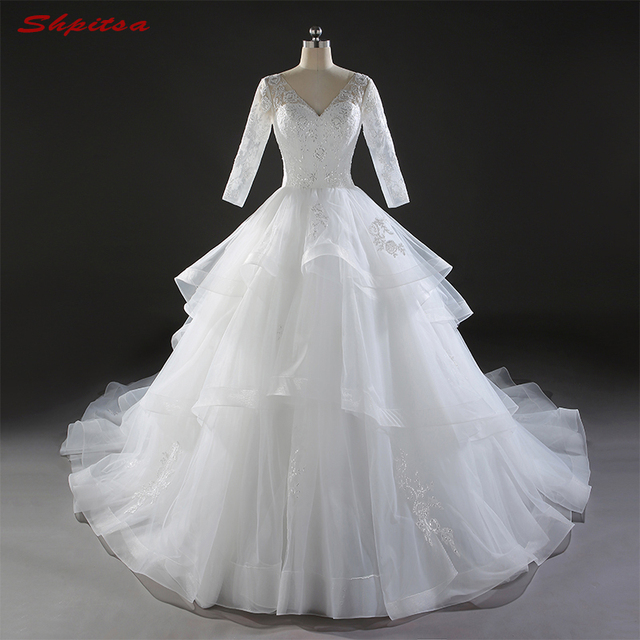 Long Sleeve Lace Wedding Dresses Ball Gown Ruffle Country Western Gowns Weding Bridal Bride