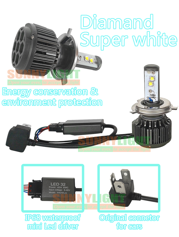 Upgraded Design LED H4 9003 H4-3 HB2 HL High Power 40W 4000LM 6000K Super White Bulb Auto Headlight Fog Light Kit Lamps for Car (1)