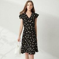 Черное шелковое платье с вишневым принтом летние платья миди с v образным вырезом и оборками, рукав, тонкий пояс для милой девочки, sukienka A Line
