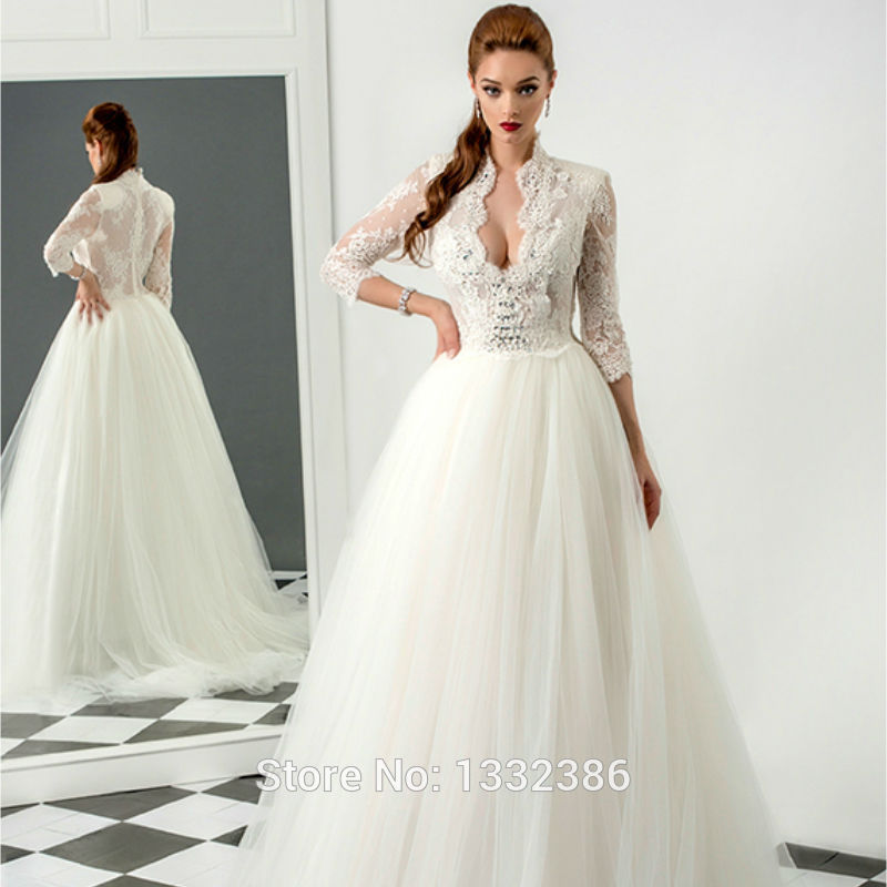 Hot2015 rochie de mireasa 3 4 sleeves sexy beaded lace for Fully beaded wedding dresses